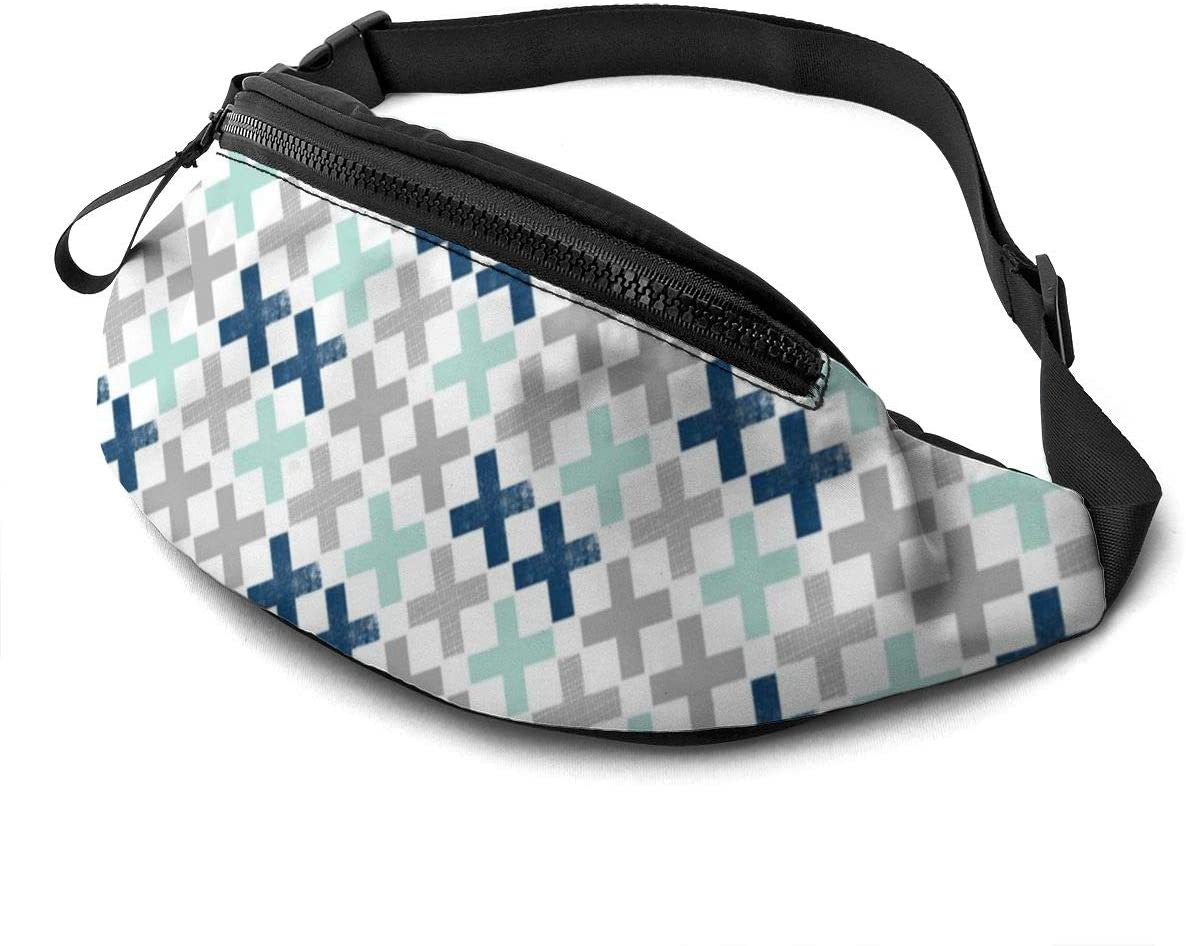 mint navy grey boys Fanny Pack for Men Women Waist Pack Bag with Headphone Jack and Zipper Pockets Adjustable Straps