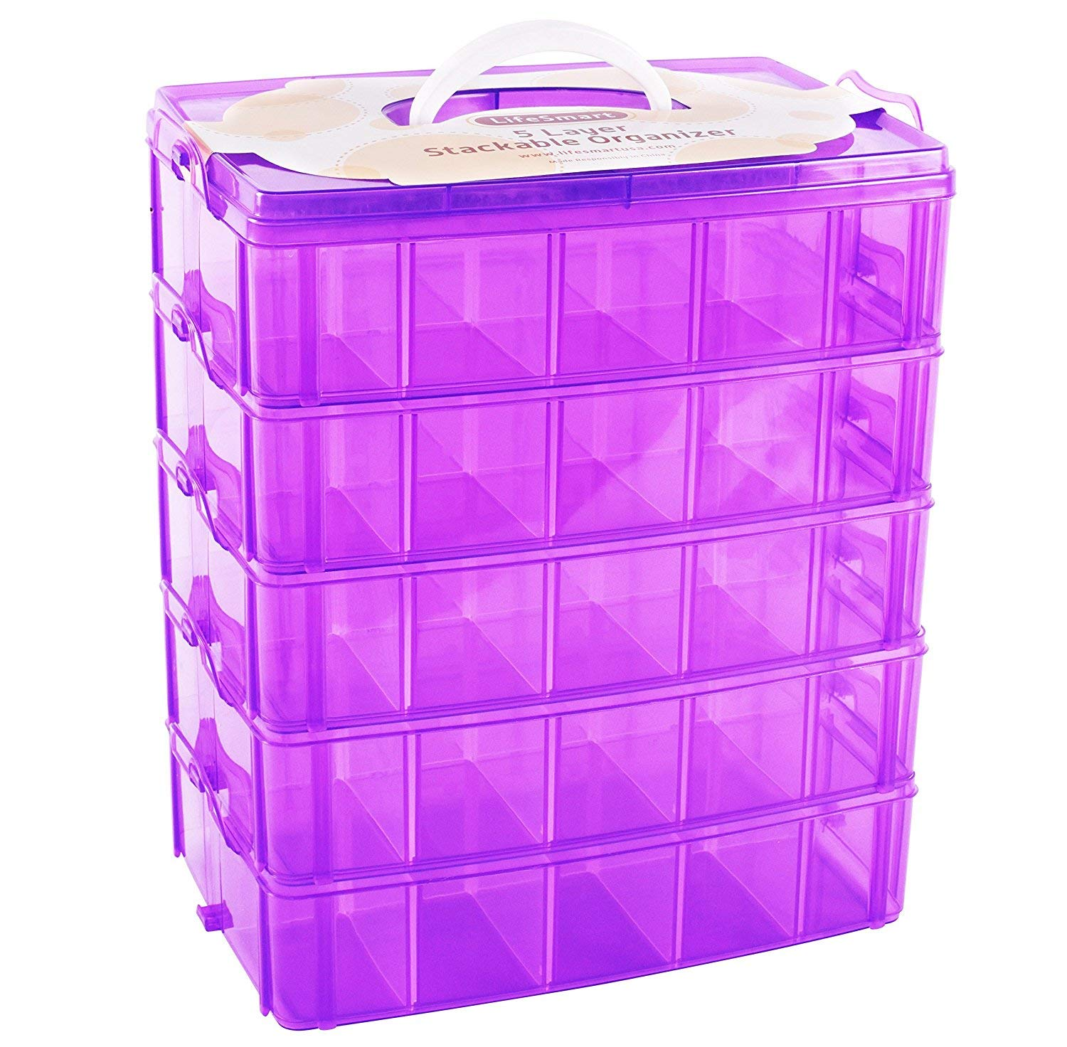 LifeSmart USA Stackable Storage Container Purple 50 Adjustable Compartments Compatible with Lego Dimensions LOL Surprise Littlest Pet Shop Arts and Crafts and More (Standard 5 Tier)