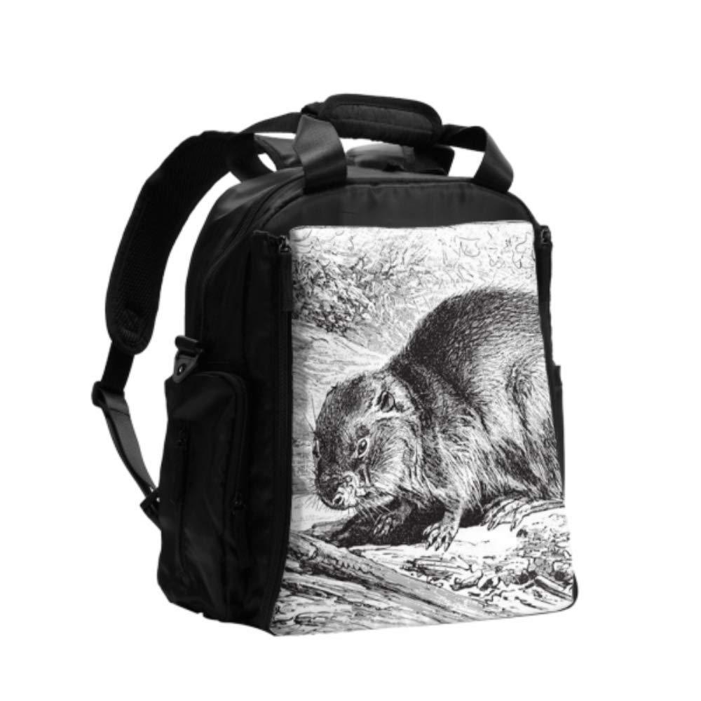 Ladies Diaper Bag Eurasian Beaver Castor Fiber Vintage Womens Diaper Bag Multifunction Travel Backpack with Diaper Changing Pad for Baby Care