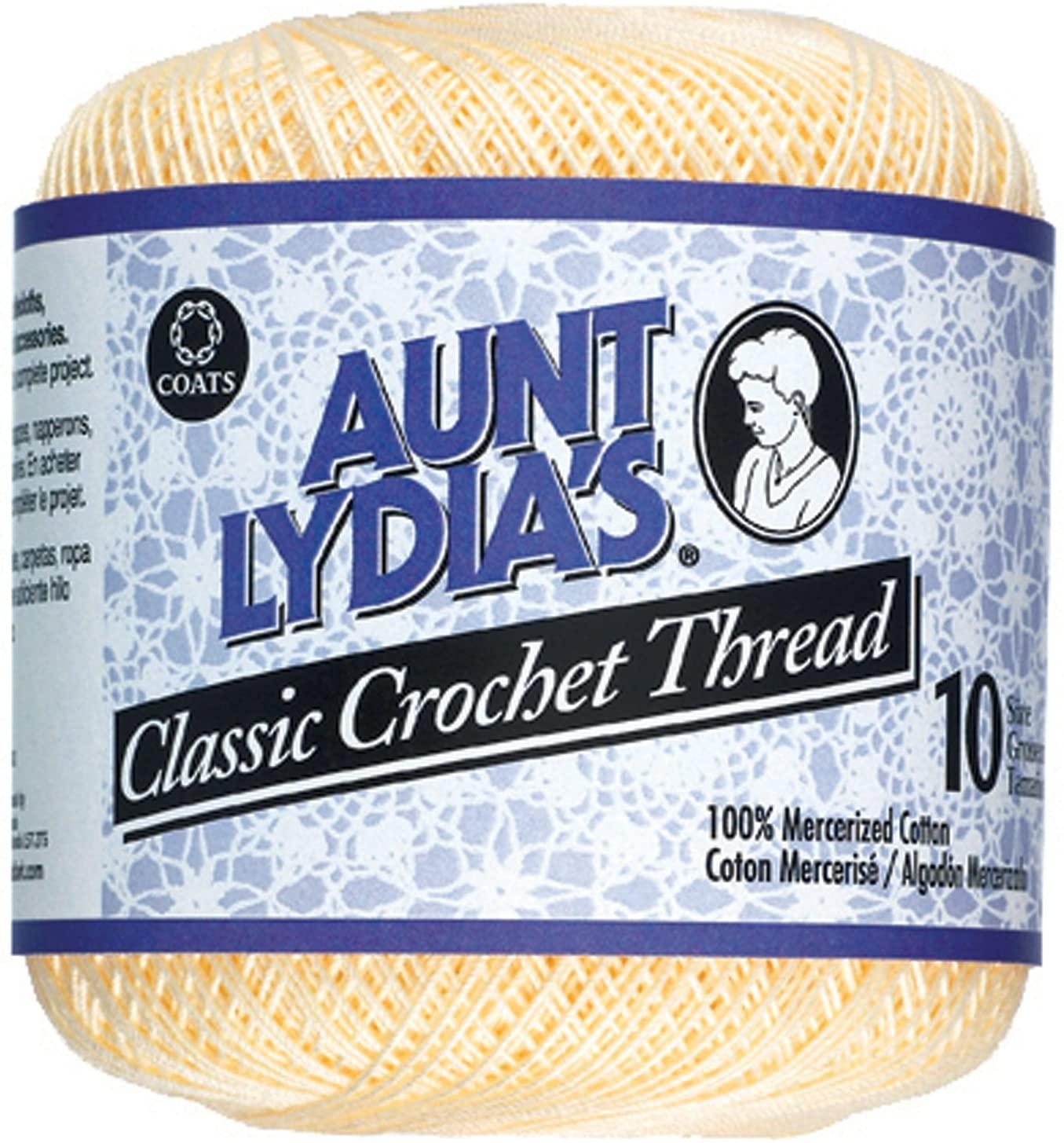 Aunt Lydia's Bulk Buy Crochet Cotton Classic Crochet Thread Size 10 (3-Pack) Cream 154-420