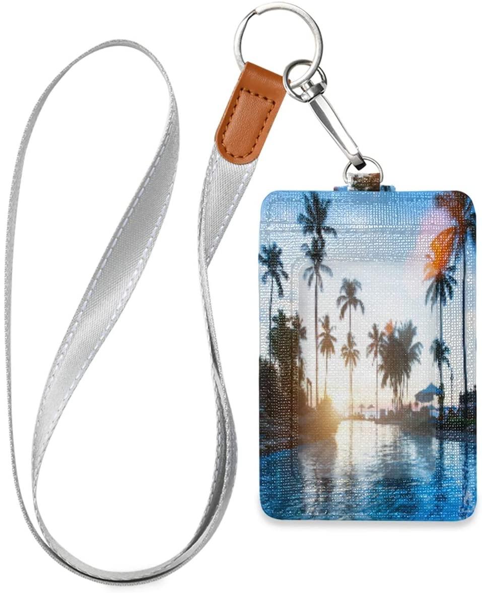 Badge Holders Beautiful Sunset Tropics Palm Tree Id Badge Holder Vertical, Badge Holder for Women Men, Badge Holder with Lanyard, Work Id Badge Holder, Leather Card Badge Holder for Office School Id