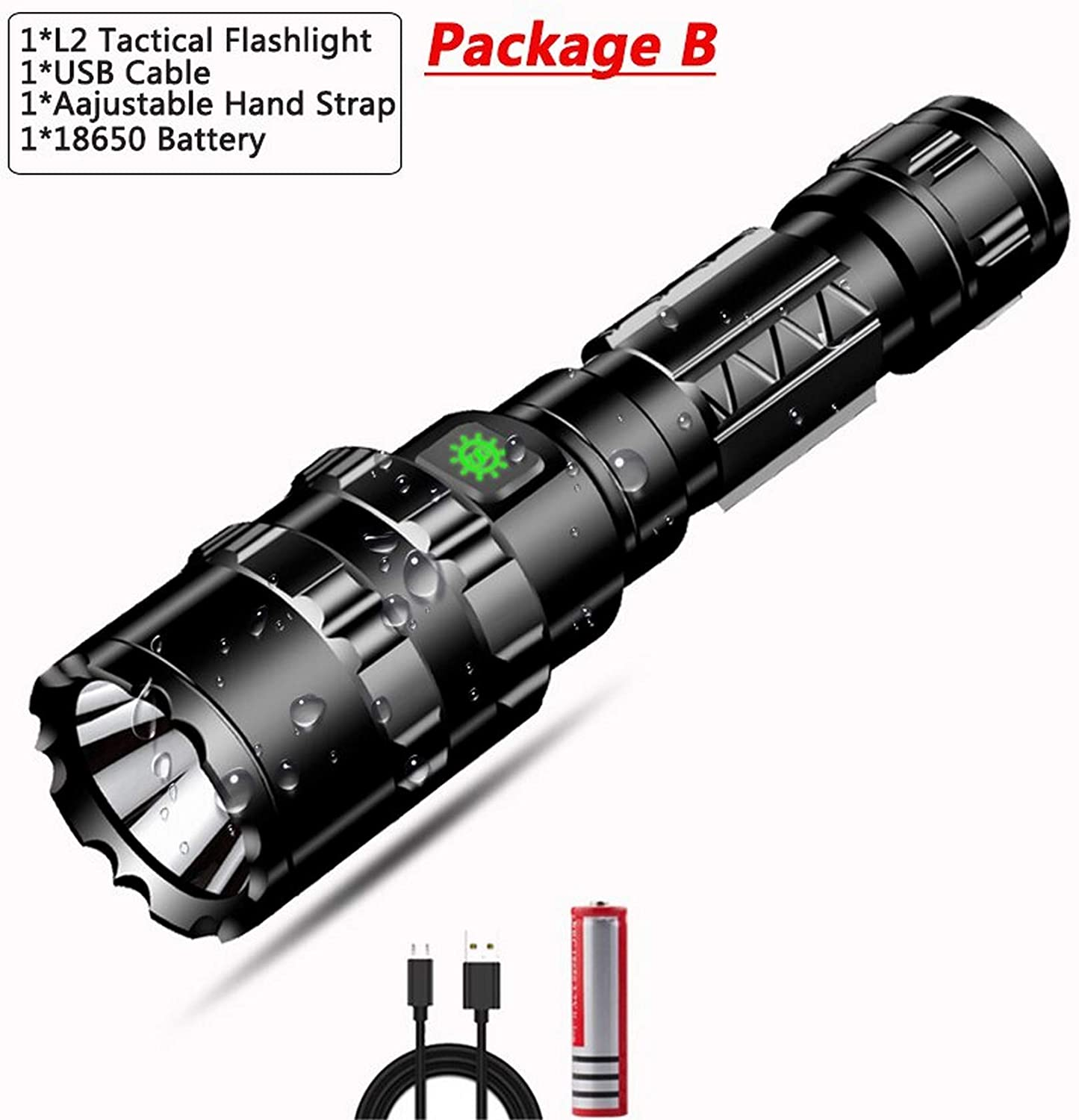 POCKETMAN Flashlight 8000 Lumen LED L2 Tactical Super Bright USB Rechargeable Gun Mount and Waterproof