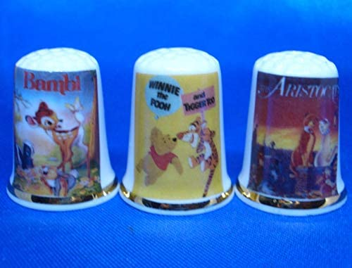 Birchcroft Porcelain China Collectable - Set of Three Thimbles - Childrens Cartoon Film Posters