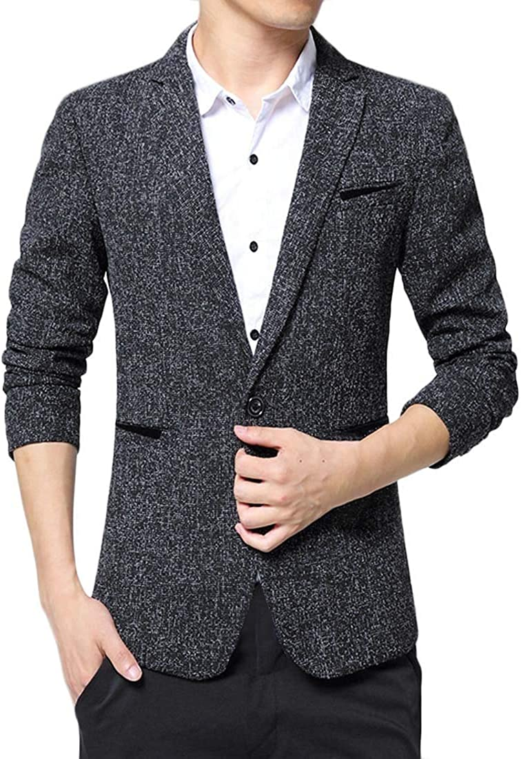 Jofemuho Men One Button Slim Fit Business Fall Winter Dress Blazer Jacket Suit Coat