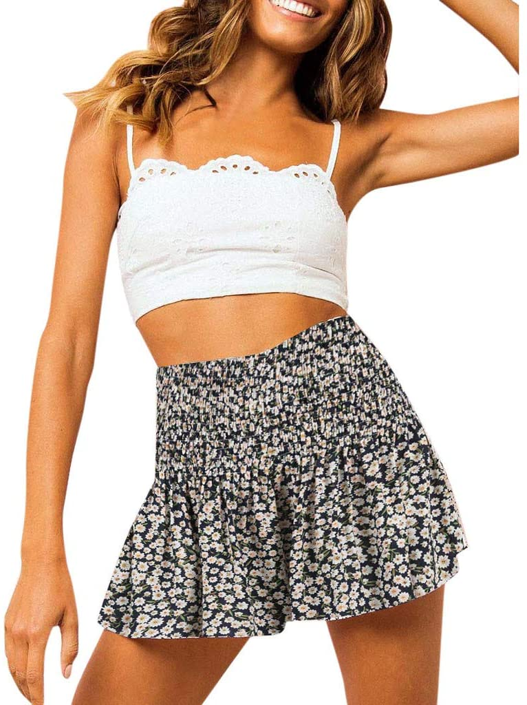 Womens Sexy High Rise Summer Culottes Shorts Pleated Floral Print Elastic Waist Breathable Beach Short Pants Loose Lounge Bottoms