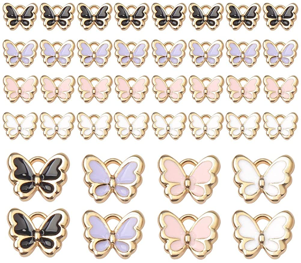 pengxiaomei 40pcs Butterfly Charms,Colorful Enamel Butterfly Pendants Charms for Jewelry,Bracelets,Necklace DIY Making