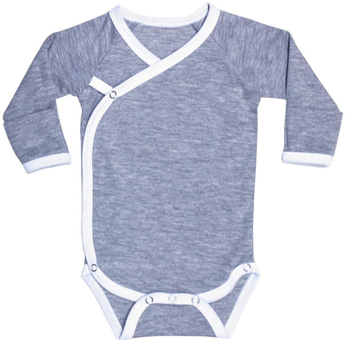 Laughing Giraffe Newborn Baby Ringer Kimono Side-Snap Romper Onesie Bodysuit with Mitten Cuffs Gray/White