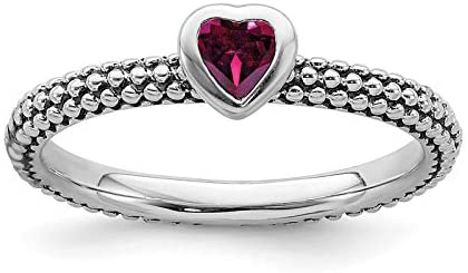 Sterling Silver Stackable Expressions Polished Cr.R Heart Ring