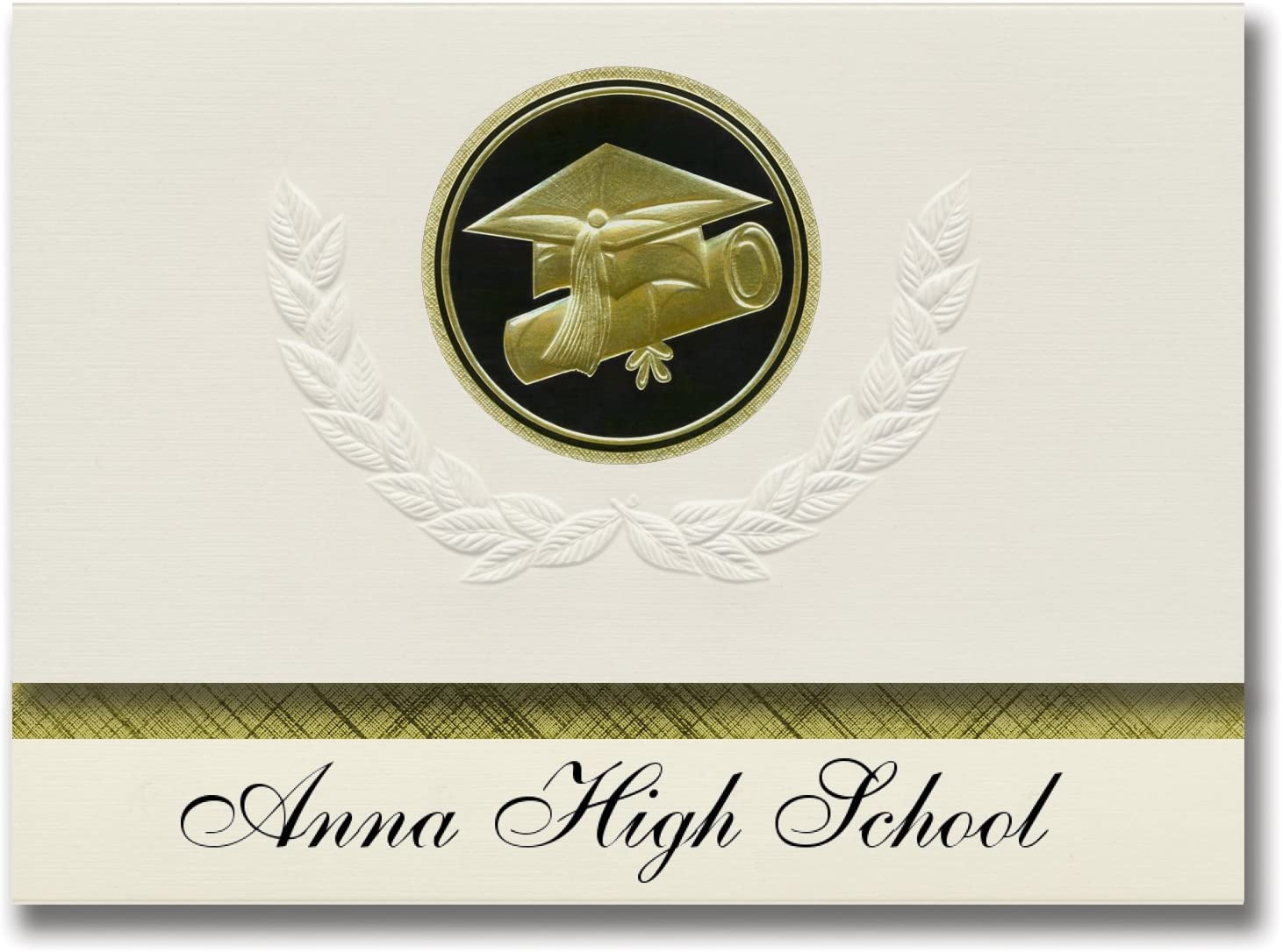Signature Announcements Anna High School (Anna, TX) Graduation Announcements, Presidential style, Elite package of 25 Cap & Diploma Seal Black & Gold