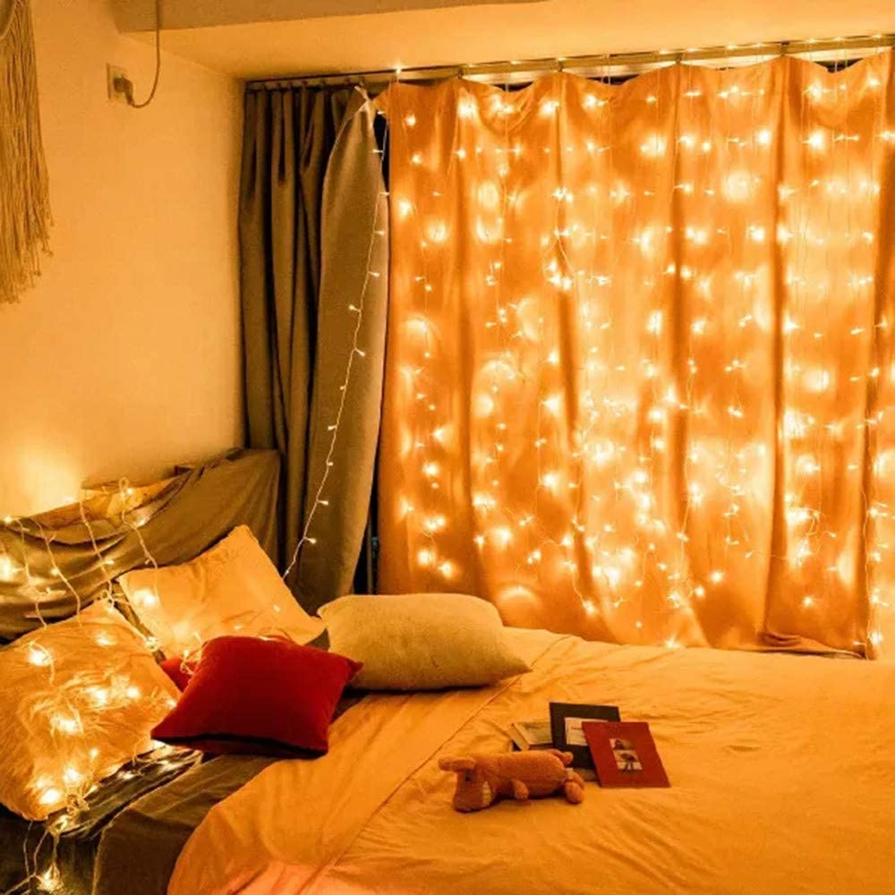 Zlolia 240 LED Window Curtain String Light Wedding Party Home Garden Bedroom Outdoor Indoor Wall Decorations, Warm White