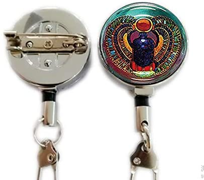 Scarab Keychain Glass Tile Keychain,Egyptian Keychain,Retractable Badge Holder Carabiner Reel Clip On ID Card Holders