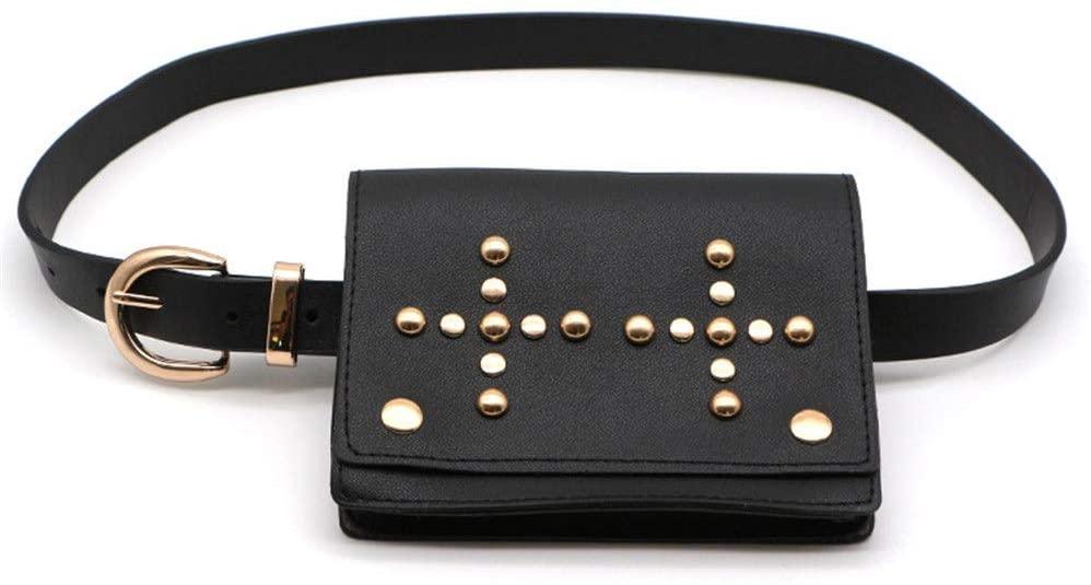 Women's Waist Bag Women Belt Bags Cross Gold Rivets Multifunction Bum Waist Bag Mini PU Leather Travel Bumbag Holiday Fanny Pack Cell Phone Pouch Money Holder for Outdoor Sports Leather Waist Packs