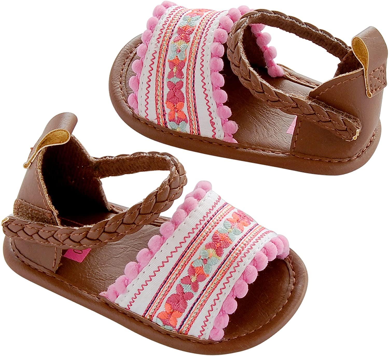 Carter's Baby Girl Crib Shoe, Sandal, Multi-Color/Embroidered, Newborn