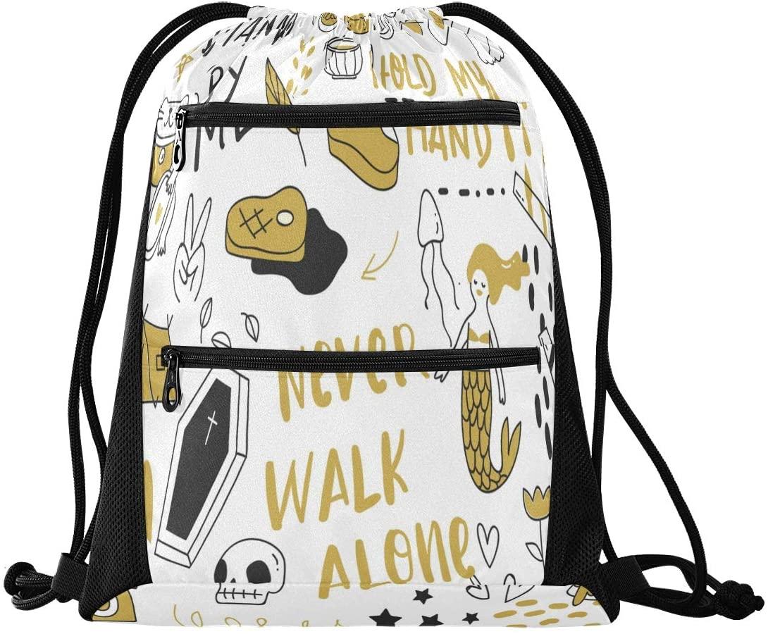 N /A Drawstring Backpack for Women Men Cute Dinosaur Riding Bike Gym Bag Drawstring Backpacks Boys