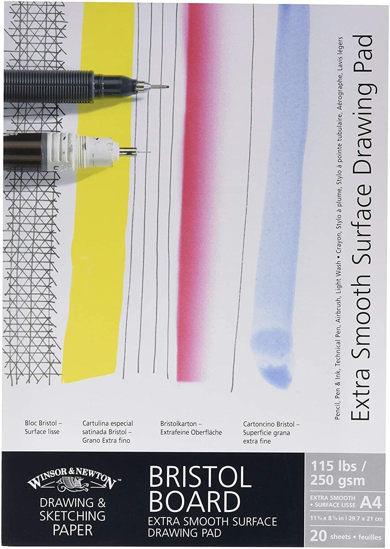 Winsor & Newton Extra Smooth Bristol Board Gummed Pad - A3, Bright White