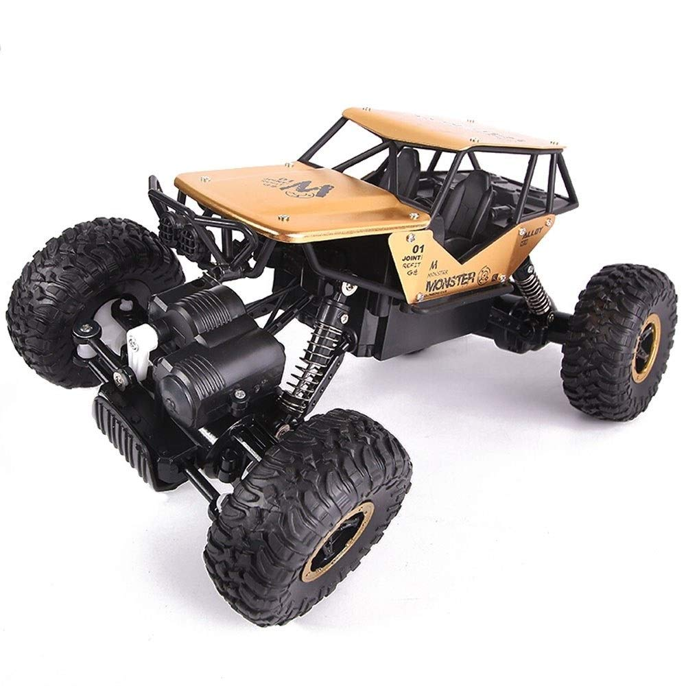Kikioo 2.4Ghz Rechargeable Hobby Car 4WD Fast Speed Racing Cars Rock Crawlers Dune Buggy Remote Control Monster Truck Toy For Boy Birthday Gifts RC Car, 1/14 Metal Shell Double Motors Off Road Vehicle