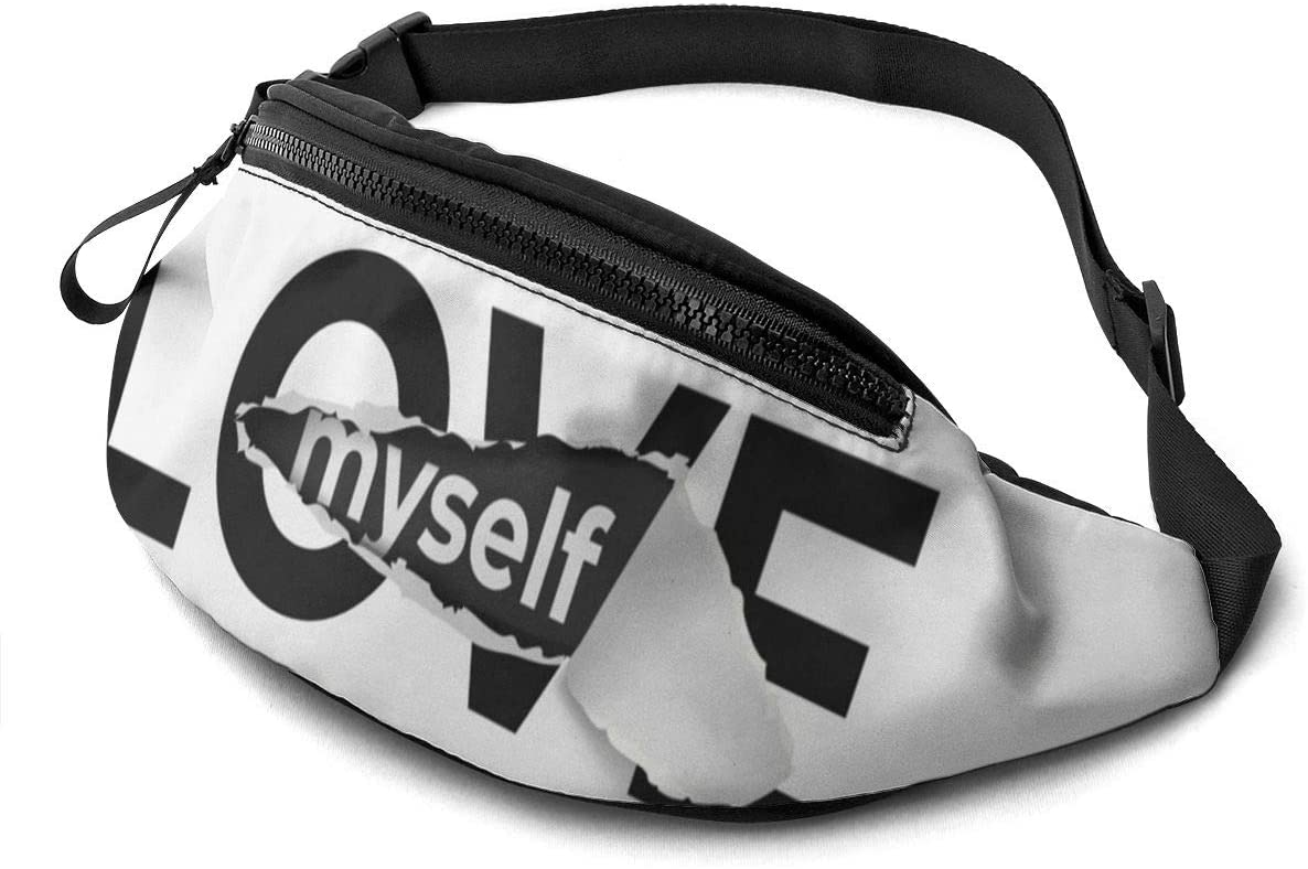 love slogan myself Fanny Pack for Men Women Waist Pack Bag with Headphone Jack and Zipper Pockets Adjustable Straps