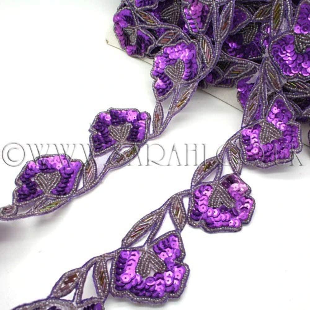Purple Floral Sequin Floral Trim - Sarahi.NYC