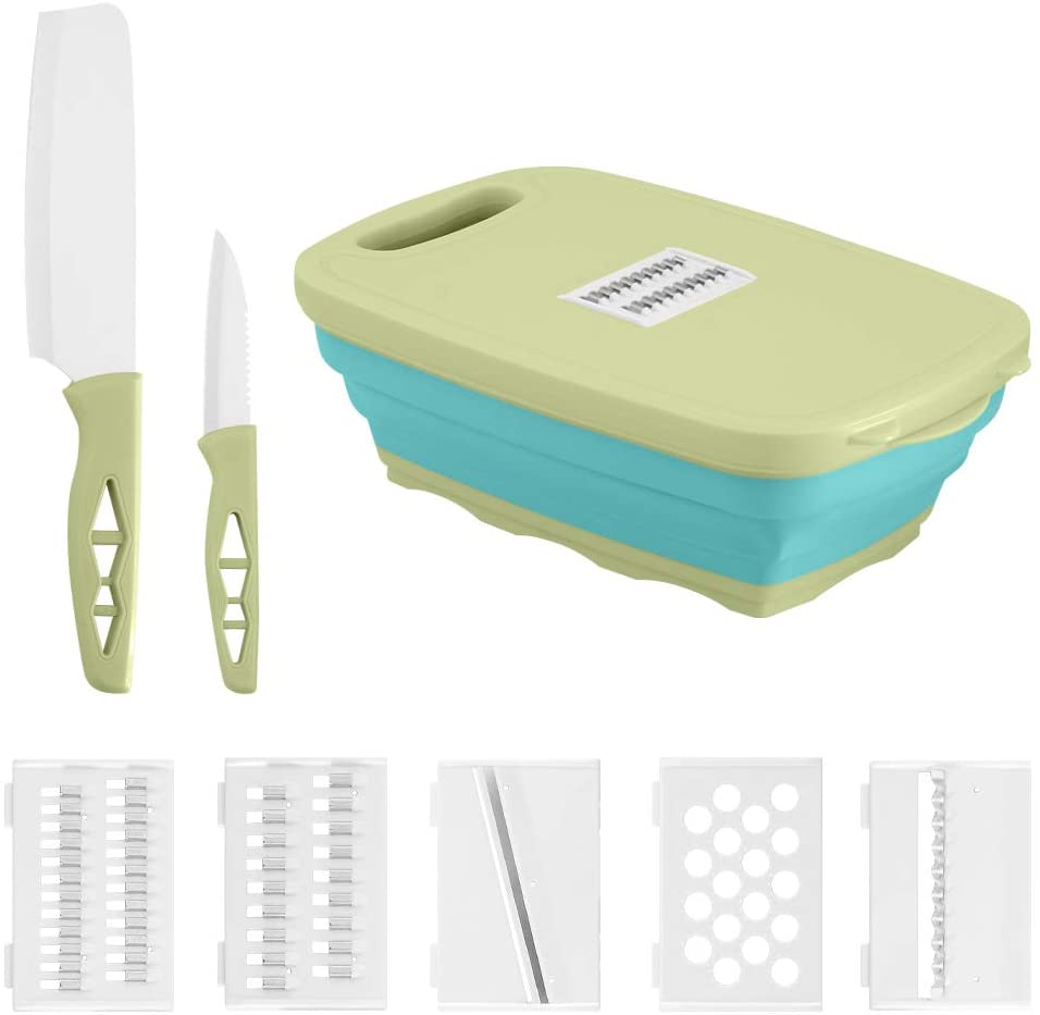 Silicone Chopping Board Multifunctional Vegetable Cutting Board With Colanders Storage Basket Foldable Chopping Block Green