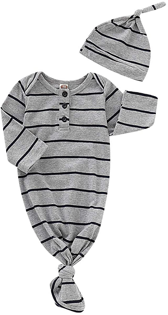 Newborn Baby Boy Girls Soft Gown Long Sleeve Nightgown Sleeping Bag Coming Home Outfit Clothes 0-6 Months