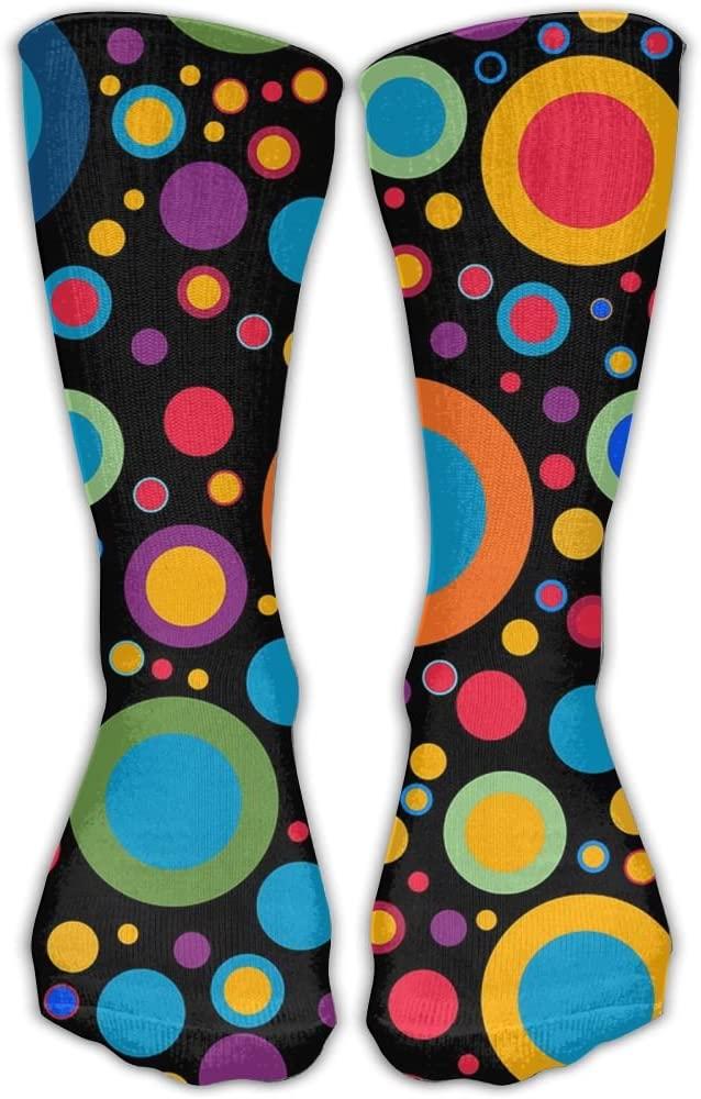 PIN Colorful Circle Athletic Socks Novelty Running Long Sock Cotton Socks
