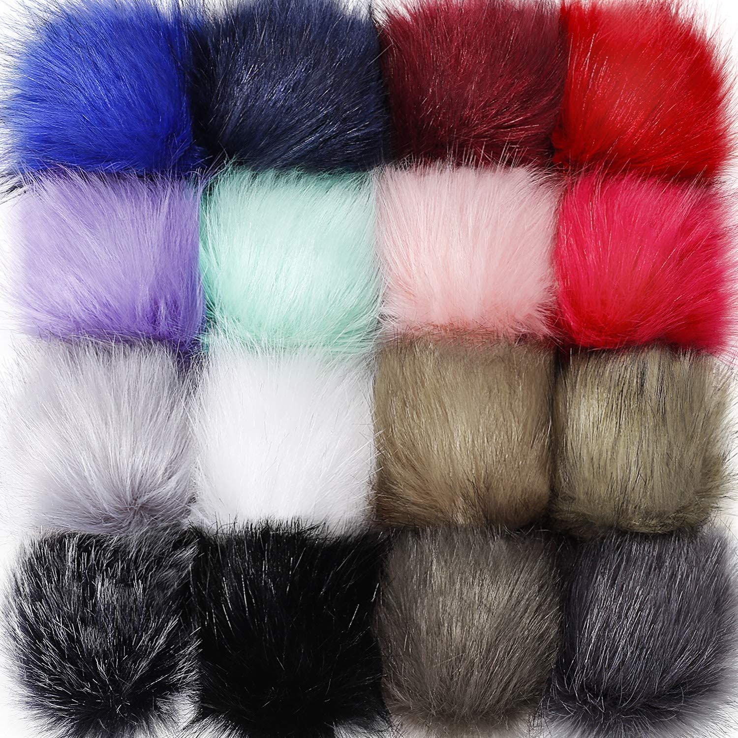 Tatuo Faux Fur Pom Pom Ball DIY Fur Pom Poms for Hats Shoes Scarves Bag Pompoms Keychain Charms Knitting Hat Accessories (Colorful, 16)