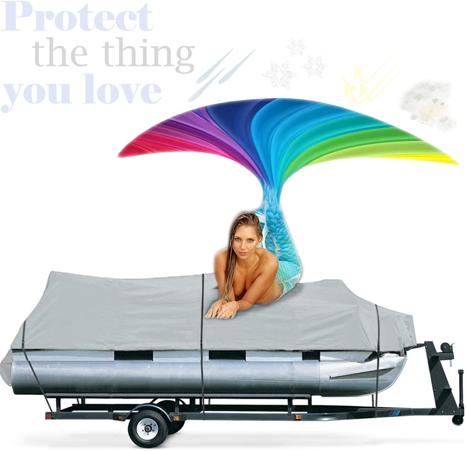Increase Your Pontoon Boats Lifetime With Waterproof 18-20' Pontoon Boat Cover Trailerable Portable Marine Heavy Duty Mildew, Dirt, UV Resistant Weatherproof Fishing Canvas+European Cream 4 Men+E-Book