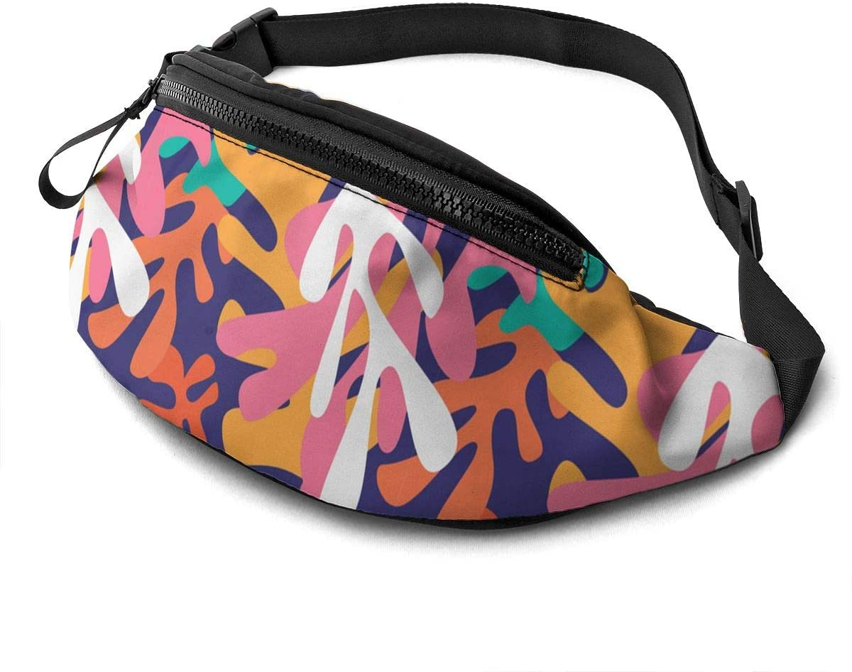 colorful design jelena obradovic Fanny Pack for Men Women Waist Pack Bag with Headphone Jack and Zipper Pockets Adjustable Straps