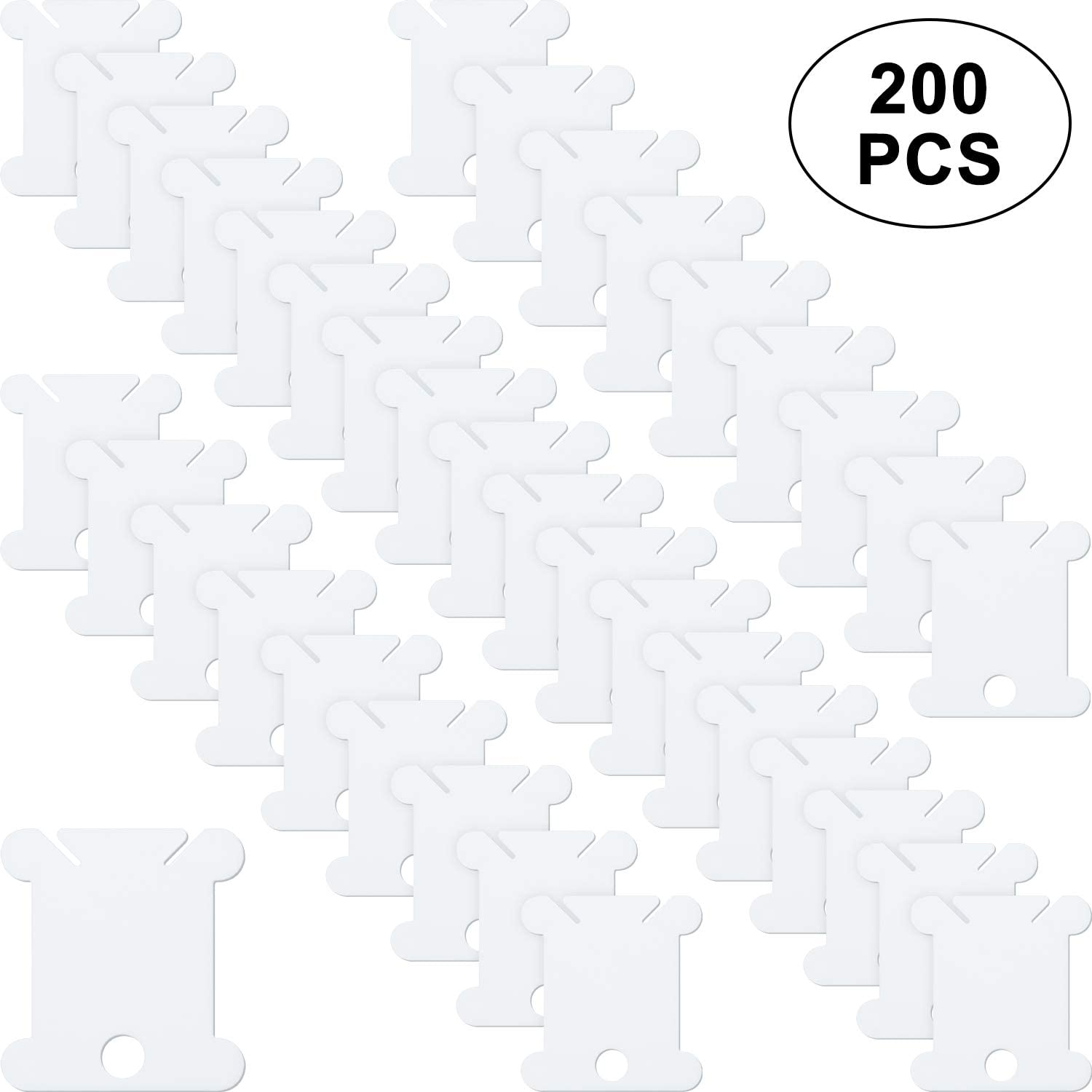 200 Pieces Plastic Floss White Bobbins for Cross Stitch Embroidery Cotton Thread for Craft DIY Sewing Storage