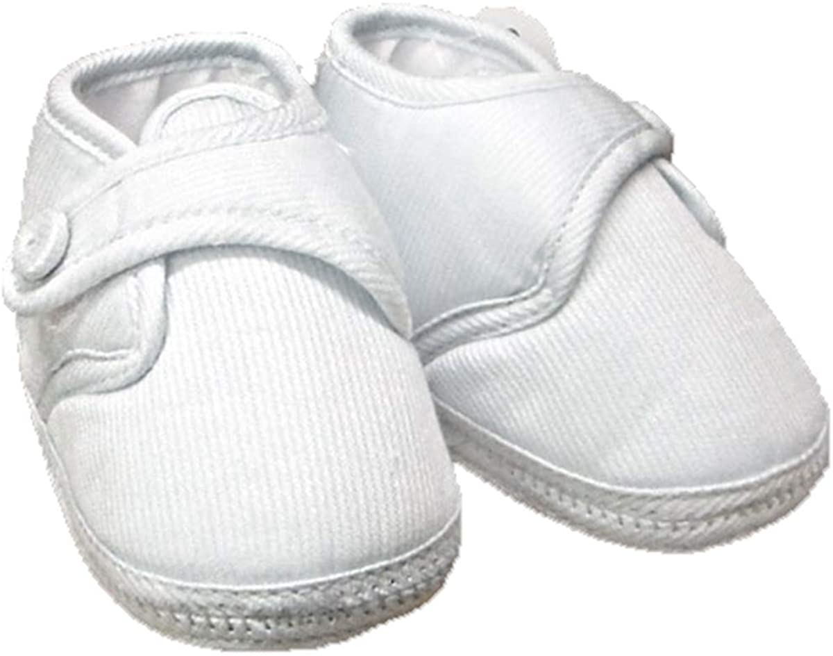 Will'Beth Boys White Cotton Christening Shoes A0133