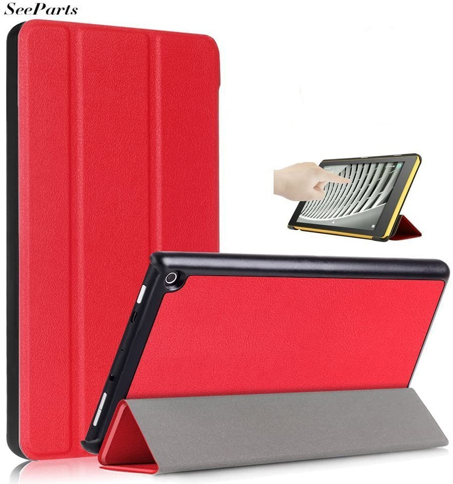 Fire HD 8 Case 2017, Lightweight Slim Shell Stand Protective Leather Smart Case Smart Auto Wake/Sleep US-SPE-009 (Red)
