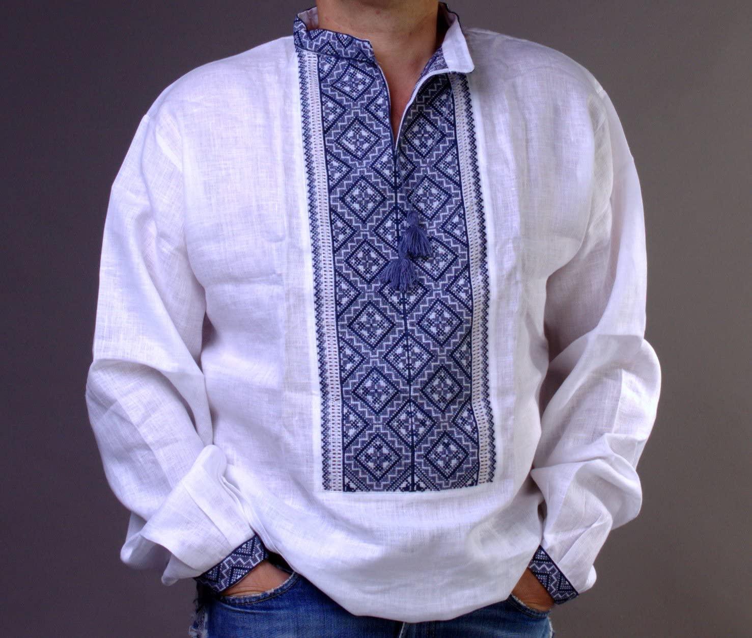 Vyshyvanka Men Shirt Ukraine Handmade White Linen Gray Embroidered Ukrainian Gift (4X-Large)