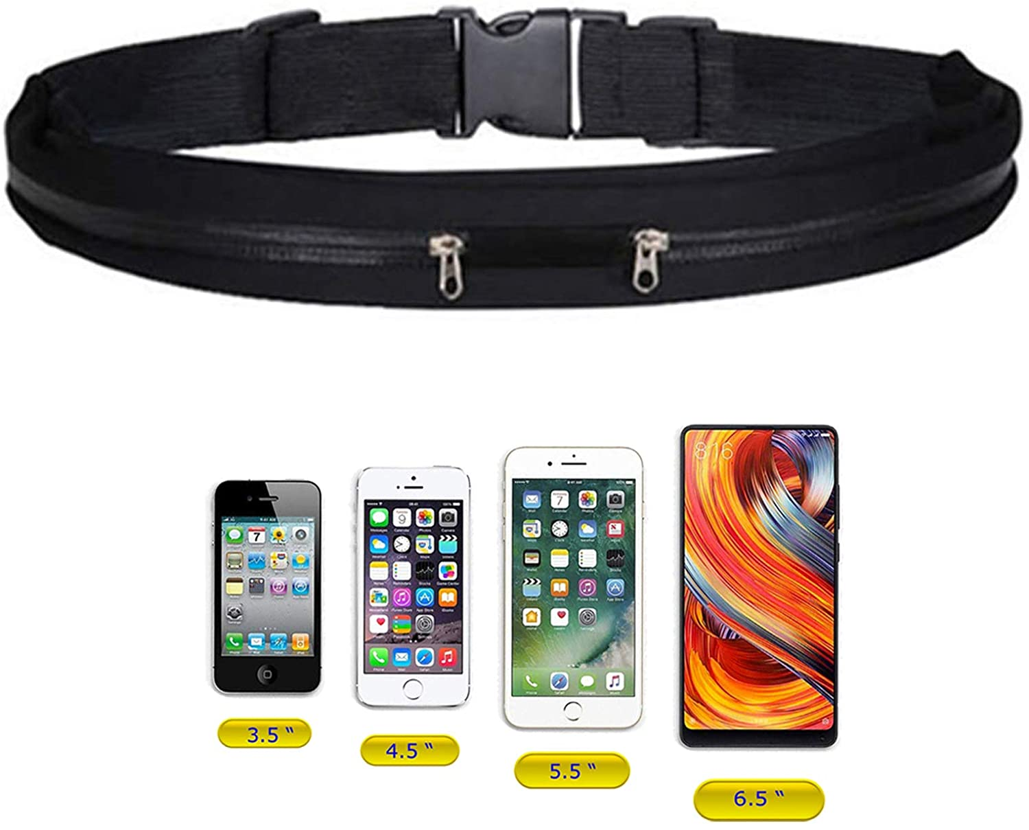 Lupo Running Belt Phone Holder Bag – Dual Pocket Expandable Adjustable Water Resistant Waist Pouch Pack - for Fitness Jogging Sport Cycling Hiking Dog Walking - fits All Mobile Phones