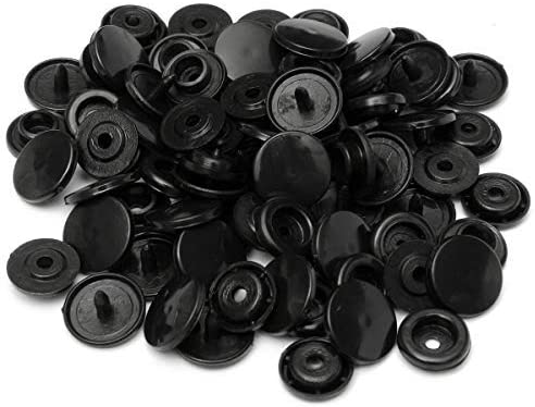 10.7Mm Black Kam Snaps Poppers - T3 (Size 16) - 100 Pieces
