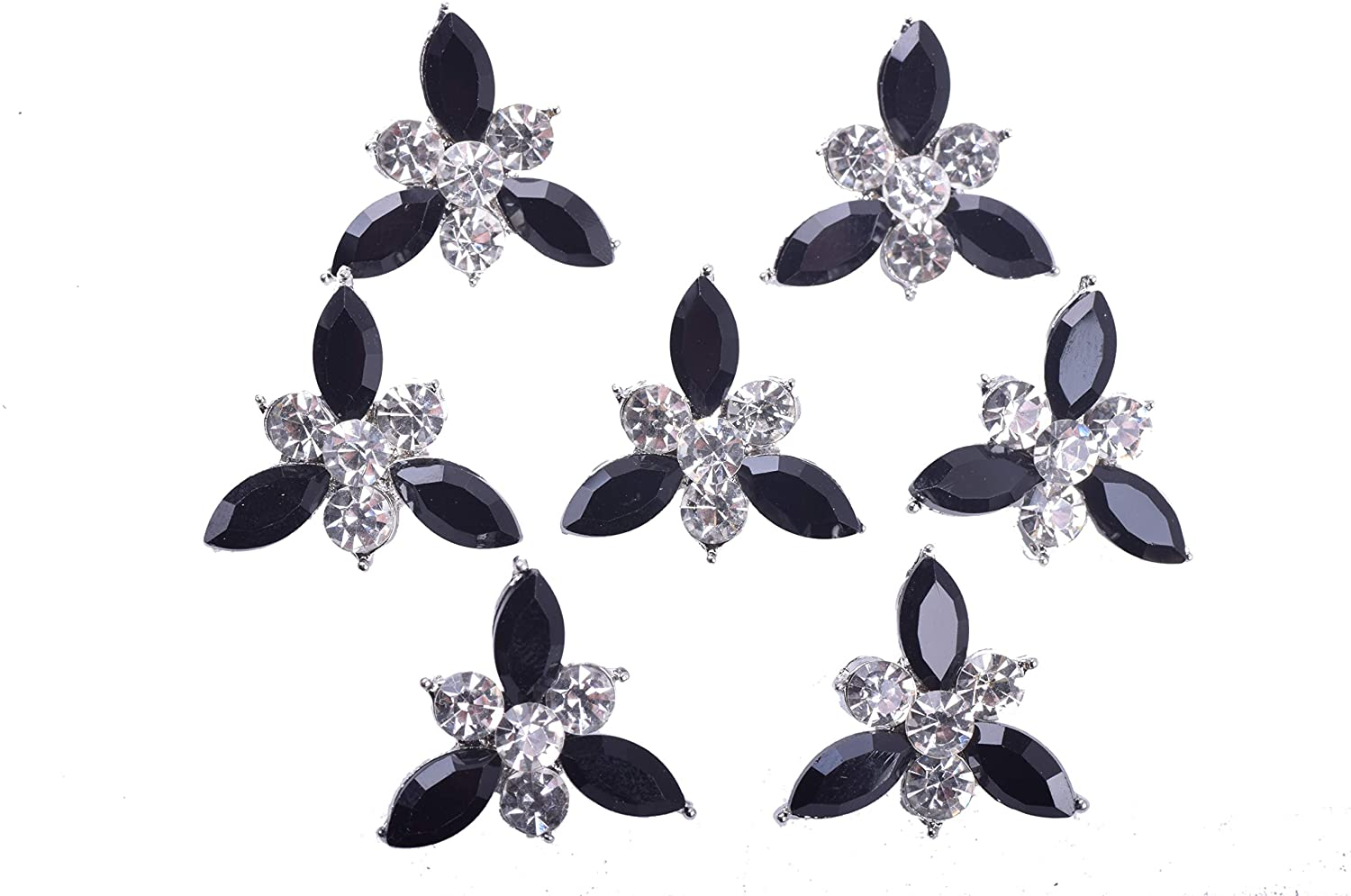 KAOYOO 10Pcs Crystal Rhinestone Buttons for DIY,Sewing Craft,Decoration(Clear and Black)