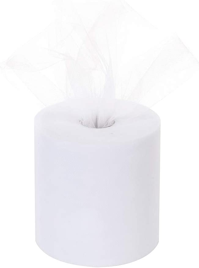 Tulle Roll 6Inchx200Yards(600ft) Tulle Ribbon Tulle Fabric Table Skirt Wedding Decorations Gift Wrapping (White)