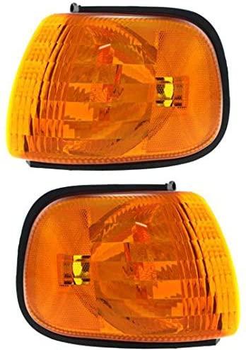 Corner Light Set of 2 Compatible with 1999-2003 Dodge Ram 1500 Van/Ram 2500 Van/Ram 3500 Van Plastic Amber Lens Driver and Passenger Side