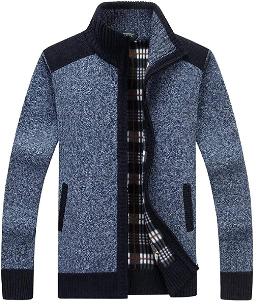 Men Winter Knit Lined Zip-Up Slim Fit Stand Collar Sweater Cardigan