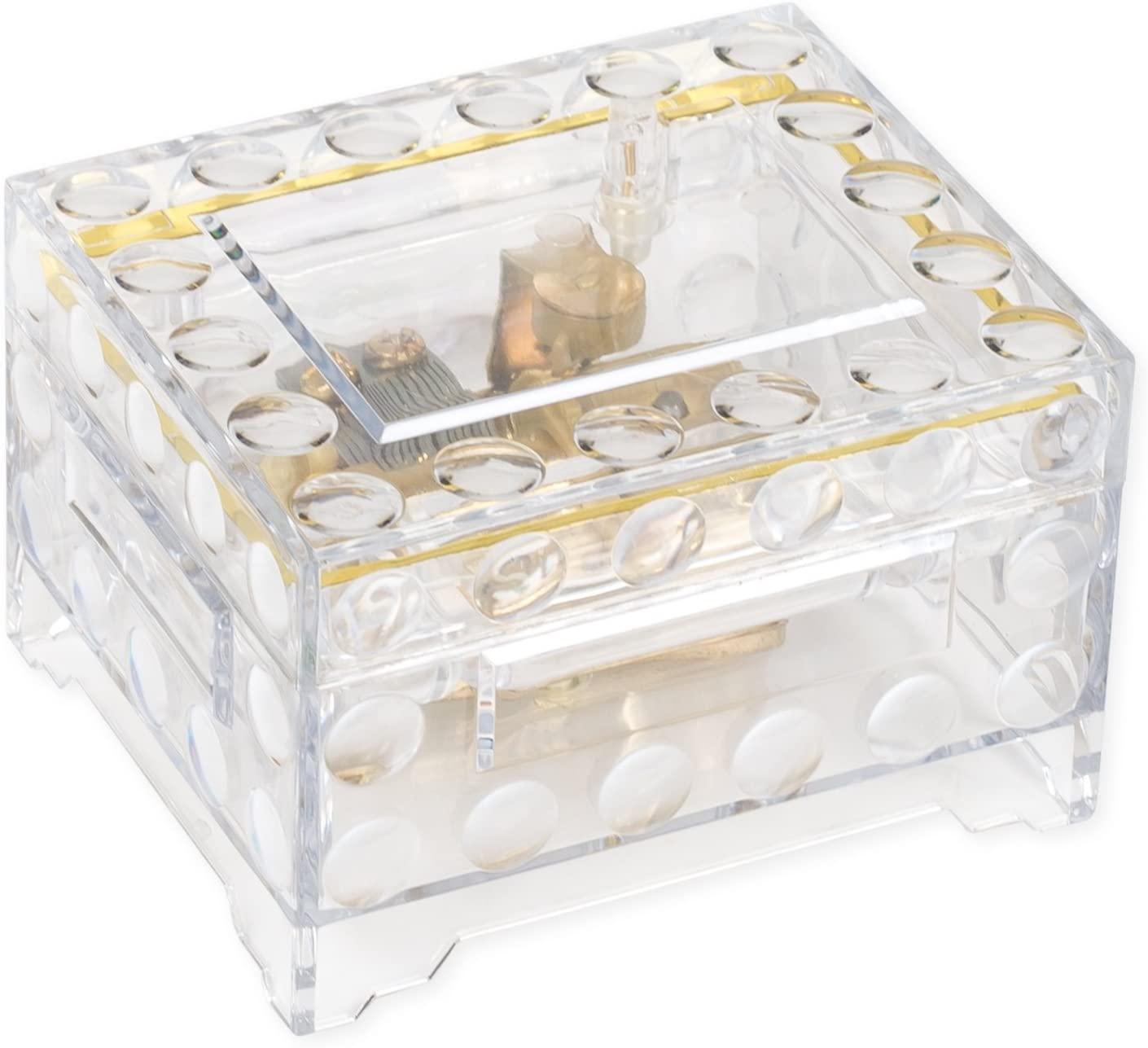 Clear Trunk Shaped Acrylic Musical Keepsake Box Plays Memory