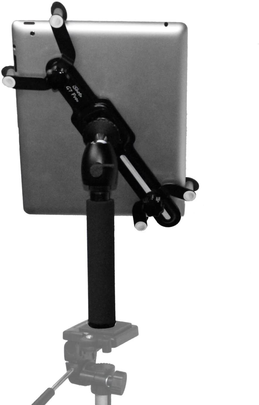 iShot G7 Pro Metal iPad Universal Tablet Tripod Mount Adapter Holder + Camera Tripod Adapter Pole with 360° Swivel Ball Head - Works with Cases up to 1