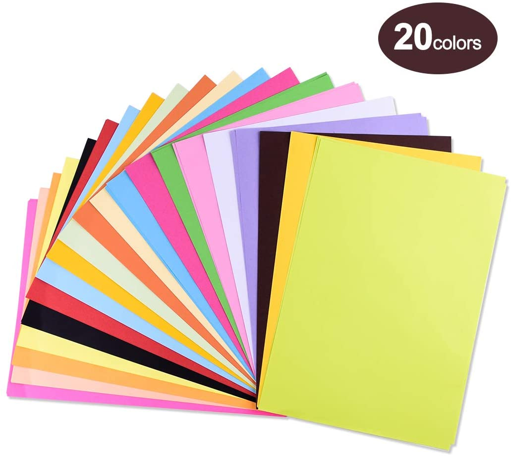 Colored Paper, Colored A4 Copy Paper, Crafting Decorating Cut-to-Size Paper 100 Sheets 20 Different Colors for DIY Art Craft (20 30cm)