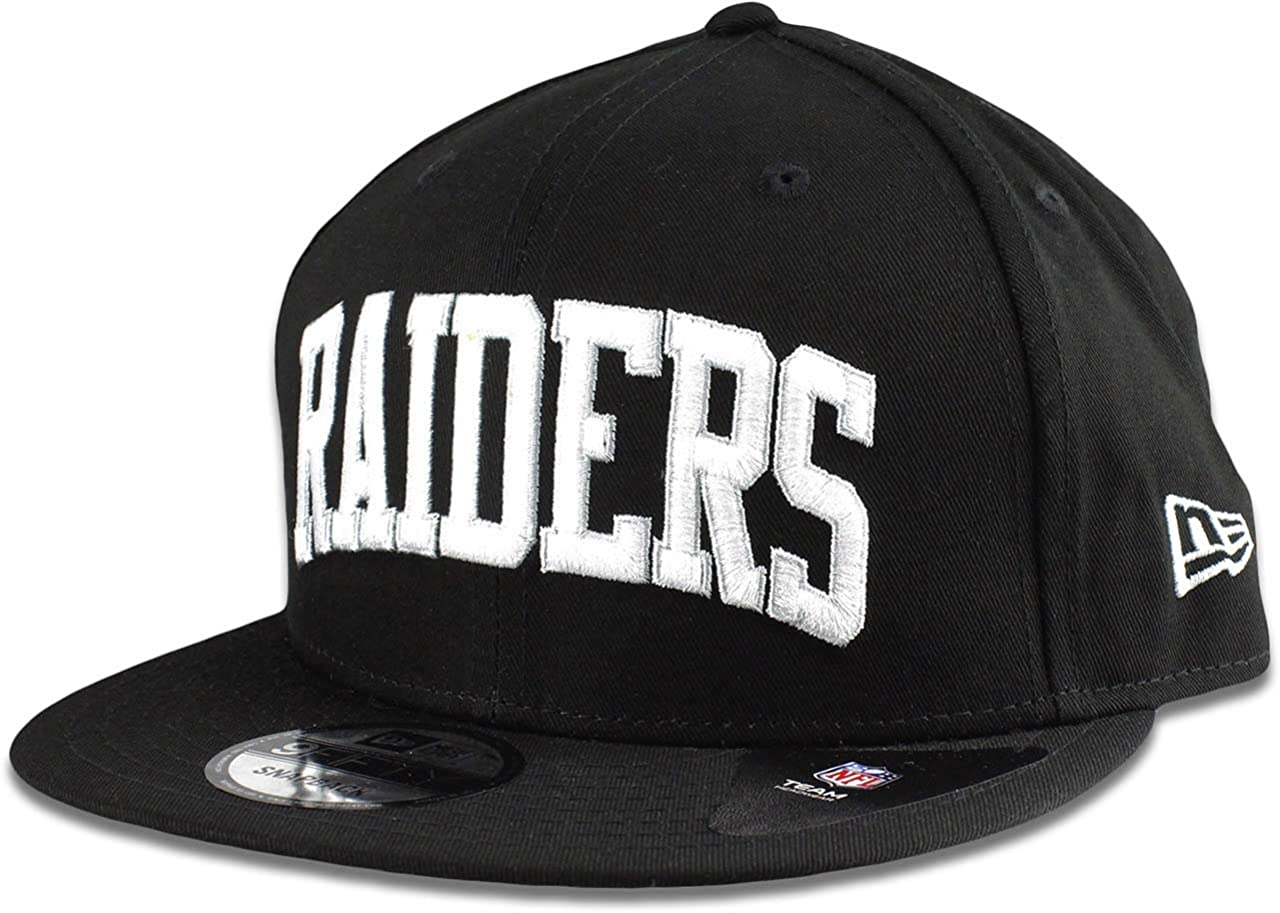 New Era Oakland Raiders Hat NFL Black White Arched Script 9FIFTY Snapback Adjustable Cap Adult One Size