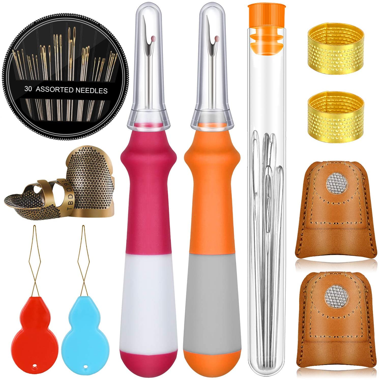 50 Pieces Sewing Tools Kit Includes 6 Sewing Thimble Finger Protector, 30 Hand Sewing Needle, 9 Large-Eye Knitting Needle, 2 Seam Ripper, 2 Wire Needle Threader and Storage Bottle