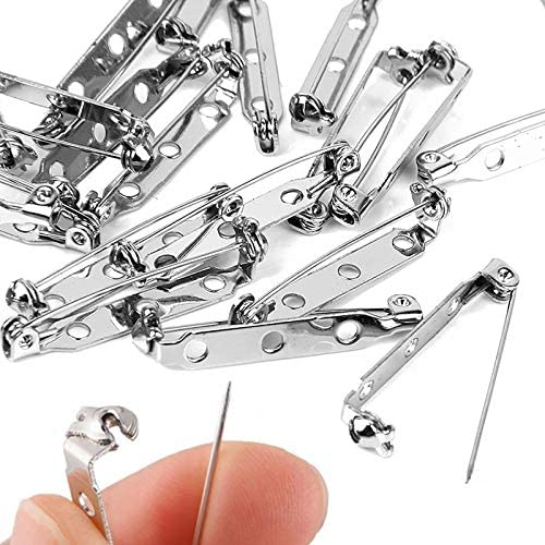 GBSTORE 50 Pcs 1.25 Inch Pin Backs Clasp Brooch, Safety Pins with 3 Holes for Badge Crafts,Jewelry Crafting,Bars,Making Corsage, Sewing Fabric, Name Tags, Toy Pins(Silver)