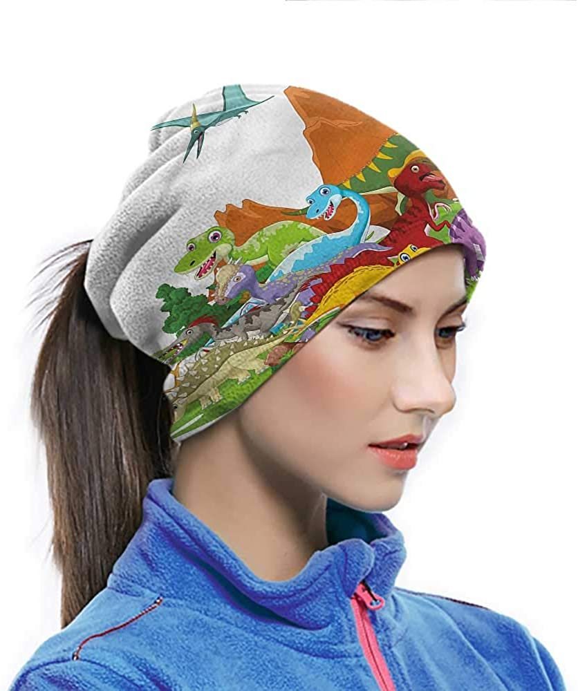 Head Wrap Dinosaur, Funny Creatures Trees Colorful Pattern Neck Gaiter for Extra Protection Under Helmet 10 x 11.6 Inch