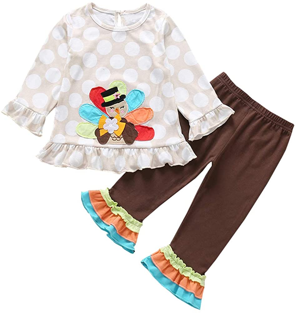 OUTGLE Toddler Girl Turkey Ruffle Top + Flare Pants Thanksgiving Outfits Set