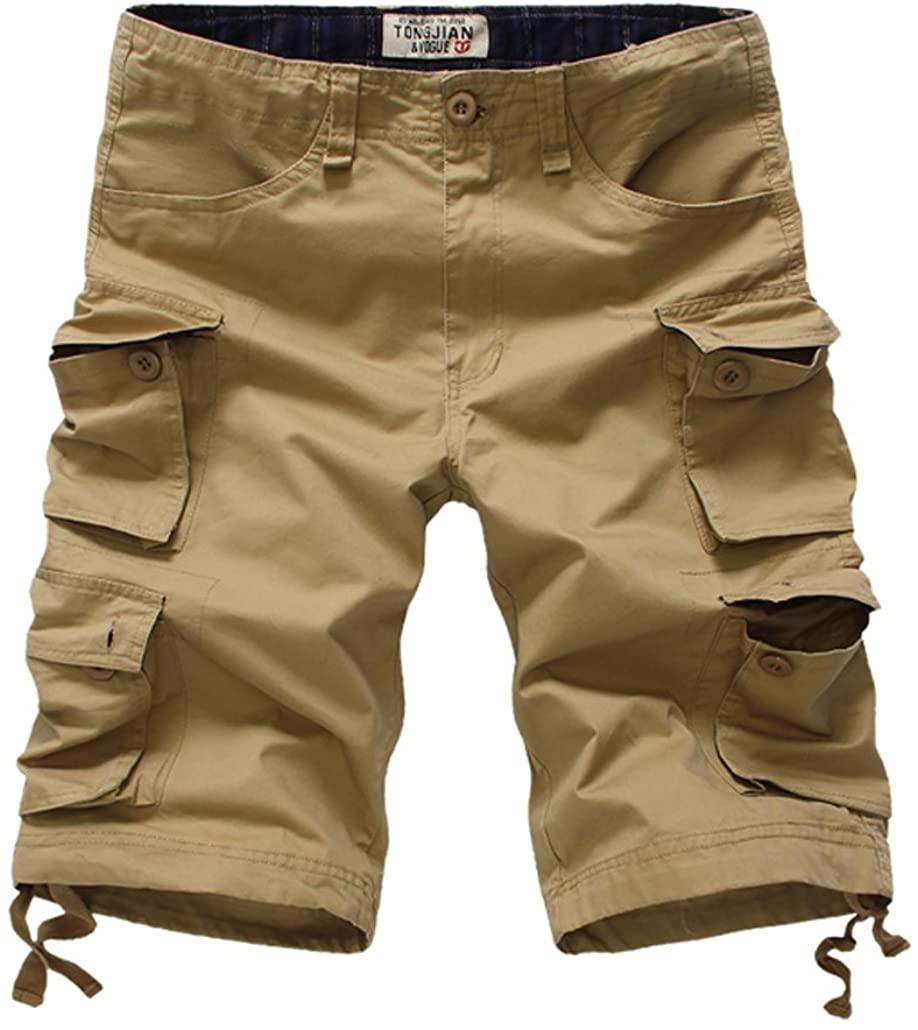 Tonwhar Men's Loose Fit Multi Pocket Cargo Shorts