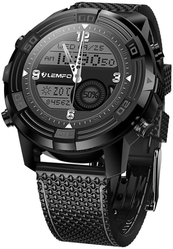 LEM6 Smart Watch Smartwatch 1GB + 16GB Watch Phone MTK6580 Smartwatch Waterproof GPS Heart Rate Monitor Bluetooth 3G, Black