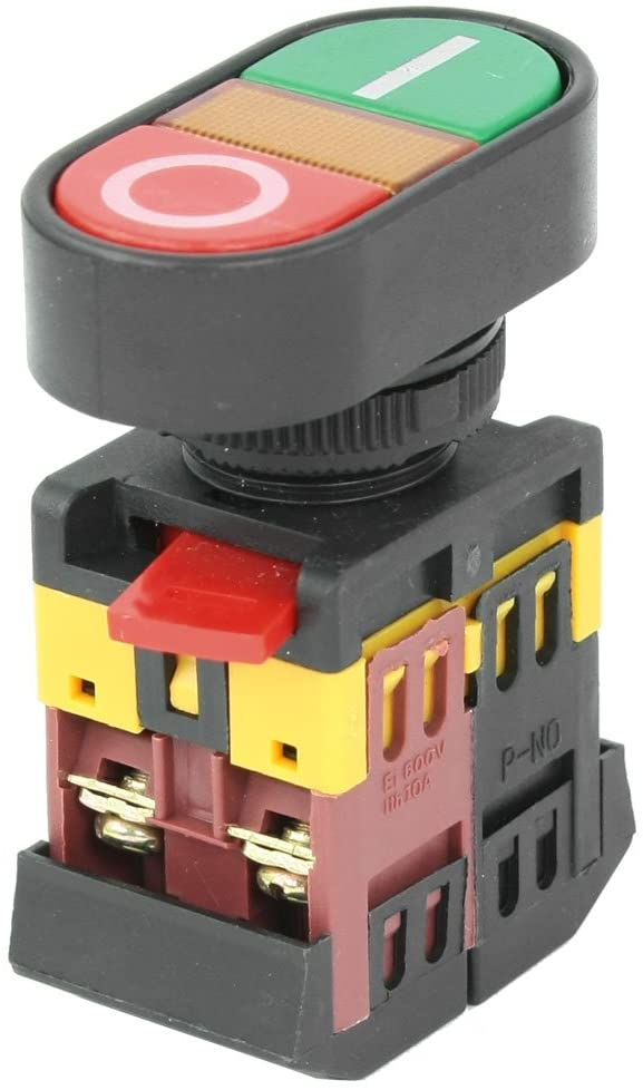 uxcell ON-OFF START STOP Push Button w Light Indicator Momentary Switch AC 600V 10A