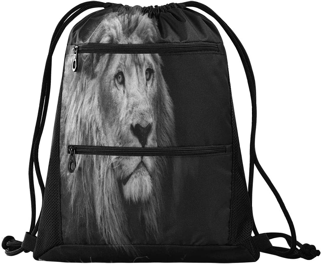 N /A Drawstring Backpack for Women Men Cool Animal Lion Gym Bag Drawstring Backpacks Boys